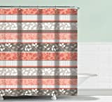 BH Home & Linen Fancy Fabric Shower Curtain with Geometric Patterns and Quatrefoil Design and Colors (Grace Peach)