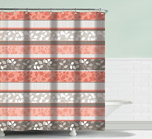 - BH Home & Linen Fancy Fabric Shower Curtain with Geometric Patterns and Quatrefoil Design and Colors (Grace Peach)