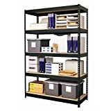 "Hirsh Industries Office Dimensions Riveted Steel Shelving 5-Shelf Unit, 48"" W x 18"" D x 72"" H, Black"