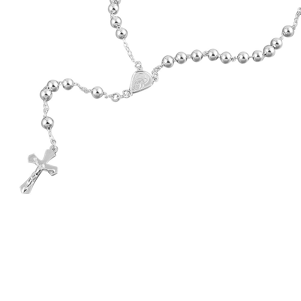 22, 24, 26, 28, 30 Inches Double Accent Sterling Silver Rosary Necklace 6mm Bead Cross Pendant Rosary Chain