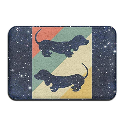 Non Slip Door Mat Outdoor,Decorative Garden Office Bathroom Door Mat with Non Slip, Inside & Outside Area Rug Floor Mat Dachshund Silhouette Design Pattern for Kitchen Hallway Bathroom