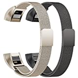 Oitom for Fitbit Alta HR Accessory Bands and Fitbit Alta Band Metal Mesh Accesorry Replacement Bands, (2 Size) Large 6.7″-9.3″ Small 5.1″-6.7″ Women Men 2 Pack Silver Black Rose Gold Champagne Rainbow