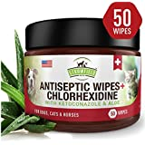 Chlorhexidine Wipes for Dogs + Cats, Ketoconazole + Aloe - 50 Pads - Cat + Dog Hot Spot Treatment, Mange, Ringworm, Yeast Infection, Allergy Itch Relief, Acne, Deodorizer Antibacterial Antifungal, USA