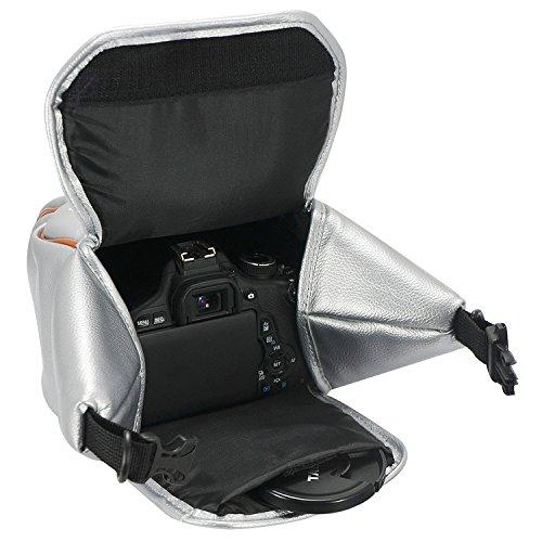 First2savvv Grün Anti-Schock SLR-Kameratasche für Nikon Canon Sony Olympus Pentax Panasonic Samsung DSLR Kameras mit 18-55mm Objektiv + Reinigungstuch Silber- Kameratasche. yeG0oi