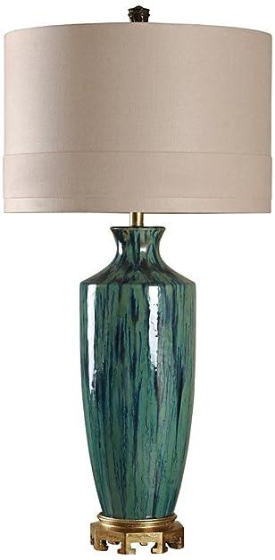Manoca reactive glaze blue and green ceramic table lamp amazon manoca reactive glaze blue and green ceramic table lamp aloadofball Images