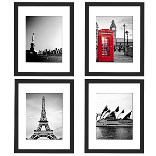 4Pcs 11x14 Picture Frames Black, Wood Instagram Photo Frames with 3 Mats for 8.5x11