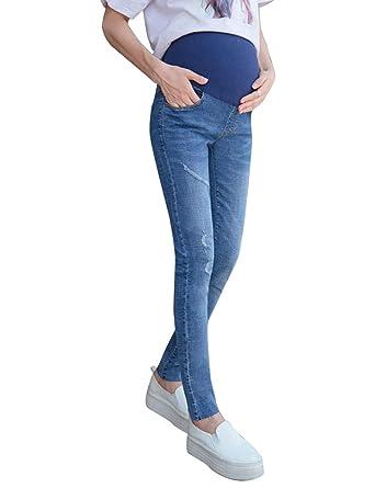 5411023422af3 TAAMBAB Women Skinny Stretch Maternity Pants Pregnancy Jeans - Slim Fit  Pregnant Leggings Denim Pants: Amazon.co.uk: Clothing