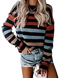Women's Strip Color Block Short Sweater Long Sleeves Stitching Color Round Neck Loose Pullovers Jumper Tops