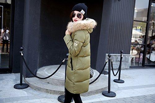 Rembourrage Long 4 Manteau Chaud Epais Femme Noir Fausse Veston Couleurs Vert Grand fille Poche Acvip Matelassé Armé Zip À Fourrure Capuche TqaPnYgY