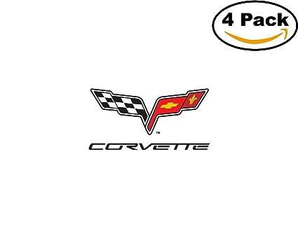 Amazon.com: corvette c6 logo 4 Stickers 4x4 Inches Car Bumper Window ...