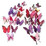 Happy Hours - 24pcs Unique 3D Colorful Double Wings Butterfly Wall Stickers / Creative DIY Art Decor Crafts for Bedroom, Playroom, Childrens Room and Home Decoration with 12pcs Sponge Gum(Fuchsia)
