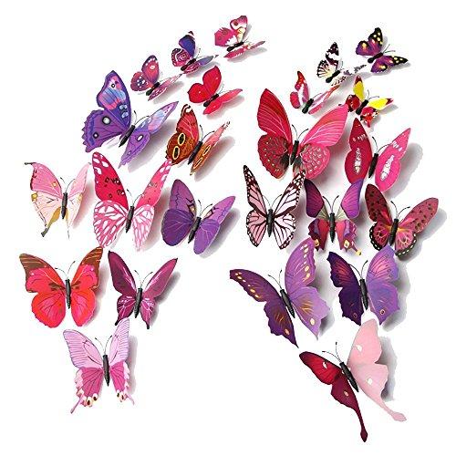 Forepin® 24 tlg Wandtattoo Wand Aufkleber 3D Magnetschmetterling Wandaufkleber Wanddekoration Kühlschrankmagnet mit Klebepunkten zur Fixierung - Lebendig Lila und Rot Schmetterling