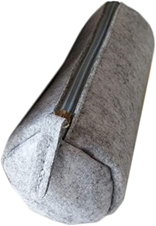 Chenyu - Estuche de fieltro para lápices, bolsa de papelería, bolsa para cosméticos redondo light grey-round: Amazon.es: Hogar