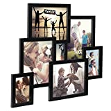 WOLTU Puzzle Collage Picture Frame Decorative Wall Hanging Black Wood Photo Frame with Plexiglass Cover, 7 Openings, 4x6