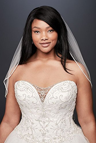 706a1144dc162 David s Bridal Beaded Illusion Plus Size Ball Gown Wedding Dress Style  9V3849 at Amazon Women s Clothing store