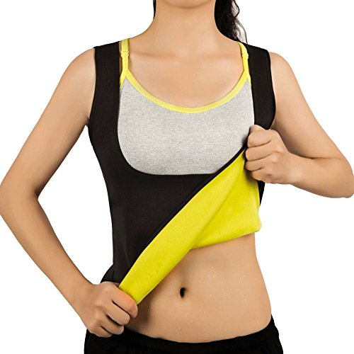 Women Hot Sweat Vest Neoprene Sauna Vest for Weight Loss Tummy Fat Burner Slimming Shapewear Hot Thermo Body Shaper Sweat Tank Top Black No Zip (Trim Womens Vest)
