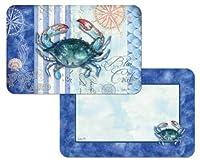 Set of 4 Sea Stripes Blue Crab Placemats - Reversible Washable Plastic