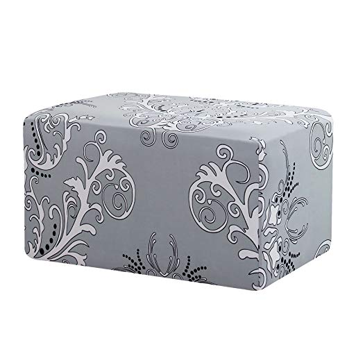 TIKAMI Ottoman Slipcovers Stretch Rectangle Folding Storage Covers Removable Footstool Protect Footrest Covers(Gray Pattern, Oversized)