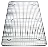 Goson Cross-Wire Grid Cooling Rack, Wire Pan Grate, Baking Rack, Icing Rack, Chrome Plated Steel, Rectangle Shape, 6-Raised Feet, Commercial Quality, Full Size - 10 x 18 Inches