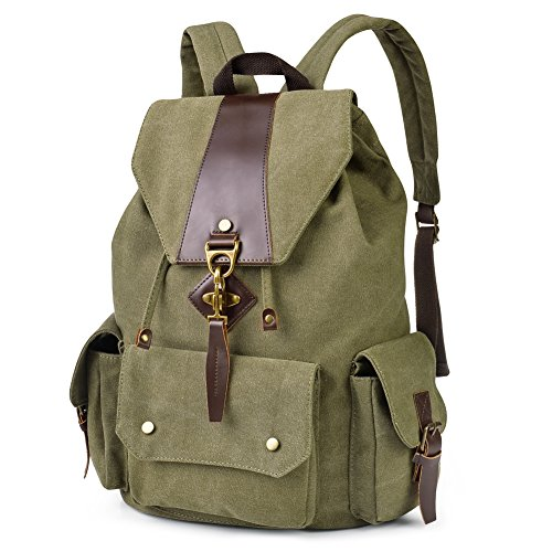 Vbiger Canvas Backpack Casual Shoulder Bag Large Capacity Travel Daypack for Men and Women (Army Green)