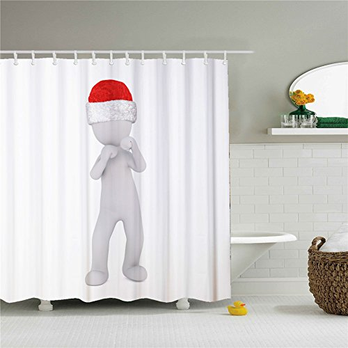 White Christmas Day Snowman Decor Shower Curtain Fabric Mildew Resistant Waterproof / Water-Repellent and Antibacterial 66x72 Inch (Logs Lauren Christmas)