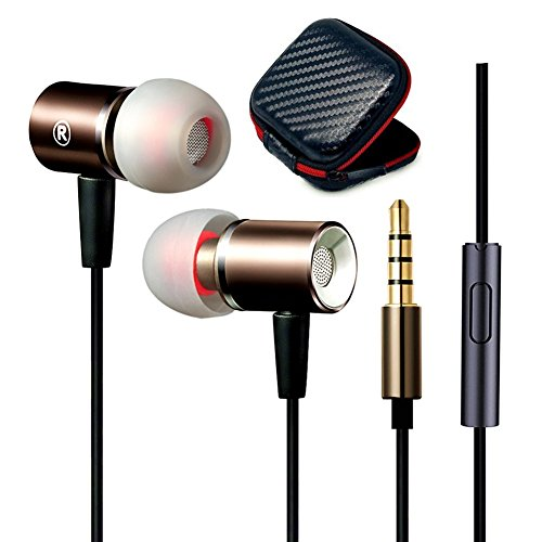 Jeselry Metal Extra Bass Earbuds with MIC and in Ear Buds Stereo Headphones Compatible with iOS and Android,Corded Earphones Headset Compatible Jeselry for iPhone 6 6s Samsung Galaxy-(Black+Gold)