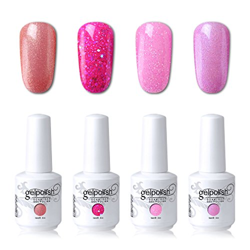 Elite99 Soak Off Gel Polish Lacquer UV LED Nail Art Manicure Kit 4 Colors Set LM-C154 + Free Gift (20pcs Gel Remover Wraps)
