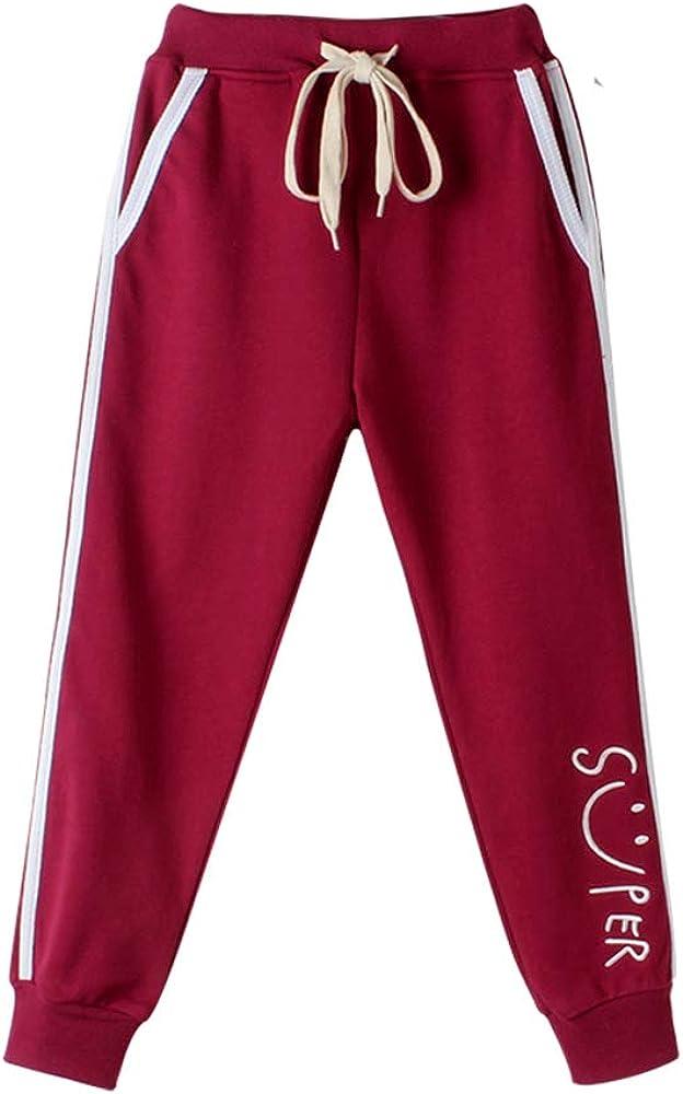 FLOWERKIDS Girls Jogger Pants Striped Cotton Trousers Drawstring Waist Sweatpants 5-14 Years