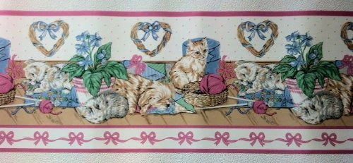 Kittens and Puppies Wallpaper Border - Pink
