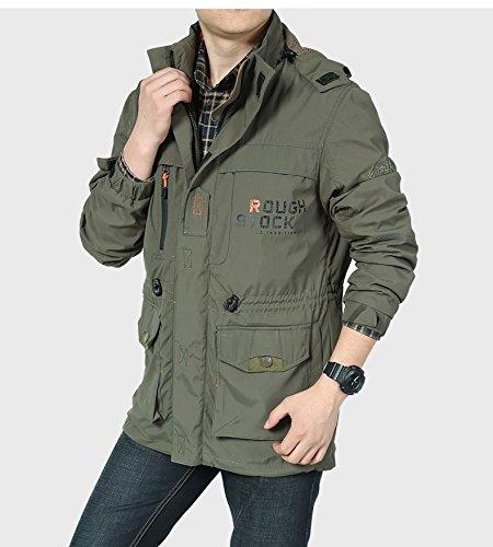 transpirable chaqueta casual chaqueta tobillo 086 de Casual M Chaqueta capa verde Mens Ejército una Hombres sola del E7q1xX