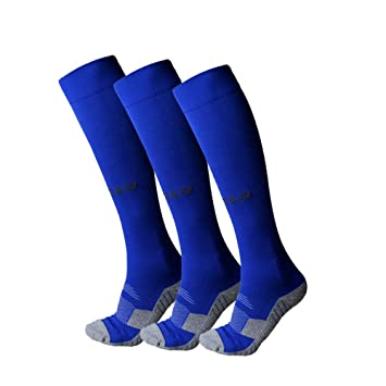 Calcetines f/útbol poli/éster Calcetines entrenamiento hockey rugby deporte largo para hombre y mujer Azul