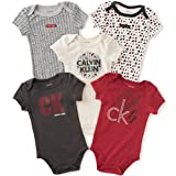 Calvin Klein Baby Boys' Assorted Short Sleeve Bodysuit, Red/Black, 3-6 Months (Pack of 5)