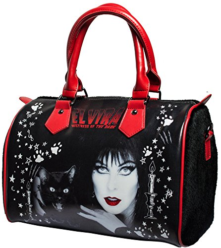 Elvira Black Cat Goth Chic Handbag with Faux Fur