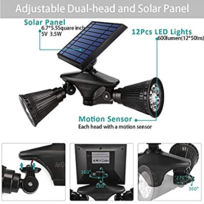 ieGeek Solar Spotlights Solar Motion Sensor Spot Light 12 LED Solar Powered Outside Spotlights Adjustable Double Head for Outdoor Wall Yard Garden Garage Driveway