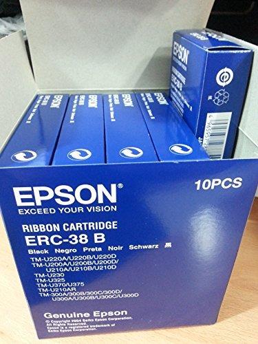 Genuine Epson Black Cartridge Black Dot Matrix 3000000 Characters 10-Pack (ERC-38B-10)
