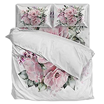 Image of Aiesther Bedding Set Duvet Cover 4 Piece Artwork Flowers Design Soft Twill Plush Quilt Cover, Include 1 Duvet Cover 1 Flat Sheet and 2 Pillow, for Adults Children Boys Girls King Home and Kitchen