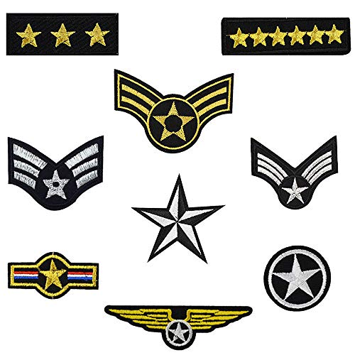 Star Embroidered Iron on Patches for Clothes Jeans Jackets Craft DIY Accessory (9 Pcs/Pack)