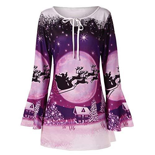 Chaofanjiancai Merry Christmas Blouse Women Plus Size Flare Sleeve Print Neck Bandage T-Shirt Tops