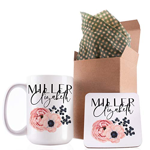 (Personalized Coffee Mug Gifts Flower with Your Name - 11oz & 15oz Large Cup with Matching Coaster - Birthday Gifts, Mothers Day Gifts, Father's Day Gifts, Christmas Gifts, Grandma Grandpa Gifts)