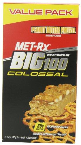 MET-Rx Big Colossal 100 Peanut Butter Pretzel, 3,52 oz Bars, 4 comte