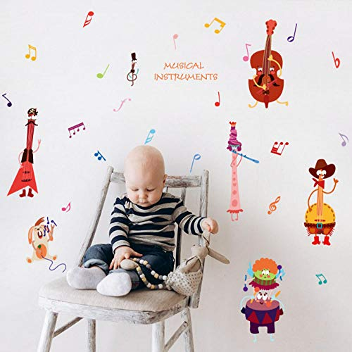 huaxiazu Funny Cartoon Musical Instrument Rabbit Note Wall Stickers Guitar Flute Children's Room Baby Bedroom Decoration Closet Stickers 150 X 87cm