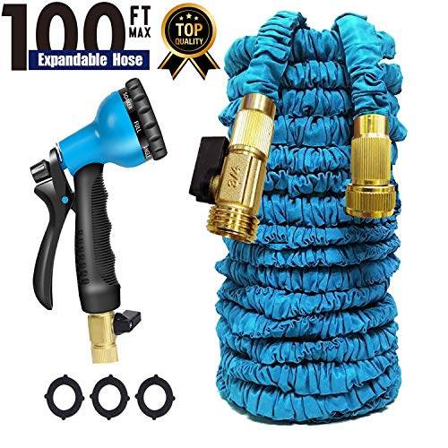 Garden Hose 100 FT Expandable Garden HoseWater Hose, Heavy Duty Water Hose Quick Connect, Strongest Expanding Garden Hose,8-Way Durable Spray Nozzle Protection for All Your Watering Needs (Blue)