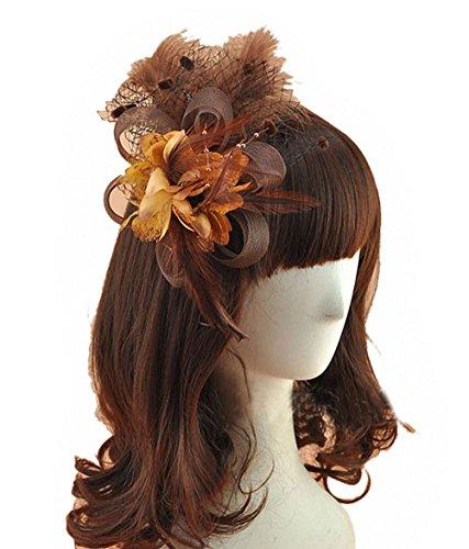 Removable Fascinator Hair Clip Feather Wedding Headwear Bridal 1920s Headpiece Women (Coffee)