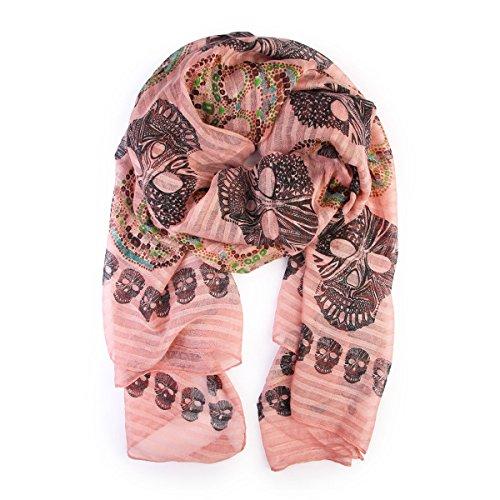 (Bohemian Sugar Skull Print Scarf Shawl Wrap - Lightweight Colorful Calavera Women's Oblong, Infinity Circle Wrap Scarves (Oblong -)