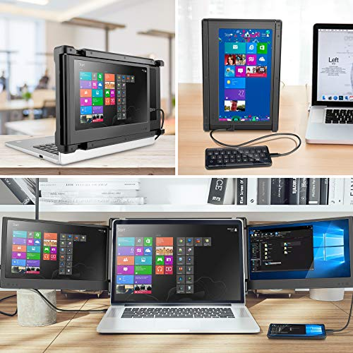 Vafany Portable Monitor for Laptop, FHD 1080P 11.6\'\' Display Dual Monitor Screen with Kickstand/HDMI/USB-A/USB-C for Programmers, Office Staff, Students, Illustrators, Compatible for 13\'\'-16\'\' Mac PC
