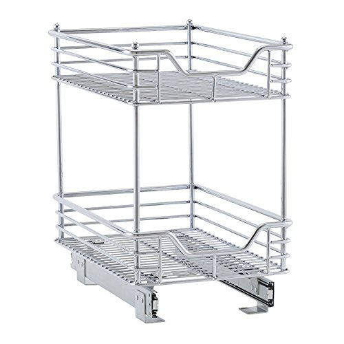 Household Essentials C21217-1 Glidez 2-Tier Sliding Organizer - Pull Out Cabinet Shelf - 11.5 Inches Wide