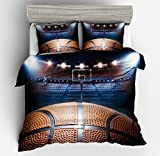 SxinHome 3d Basketball Bedding Set for Teen Boys, Duvet Cover Set,3pcs 1 Duvet Cover 2 Pillowcase(no Comforter inside), Full Size