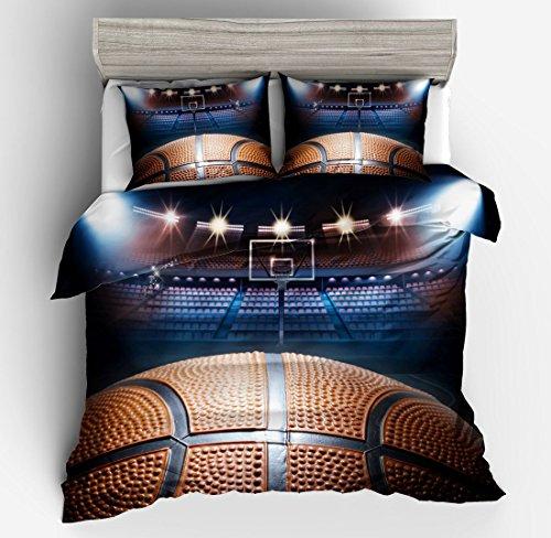 SxinHome 3d Basketball Bedding Set for Teen Boys, Duvet Cover Set,2pcs 1 Duvet Cover 1 Pillowcase(no Comforter inside), Twin Size - Basketball Bedding