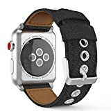 MoKo Band for Apple Watch Series 3 Bands, Comfortable Denim Fabric Adjustable Replacement Wristband Strap for iWatch 38mm 2017 series 3 / 2 / 1, Black (Not fit 42mm Versions)