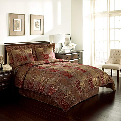 Croscill Galleria Queen 4 Piece Comforter Set Red - Generously Oversized (Bedspread Gold Red And)